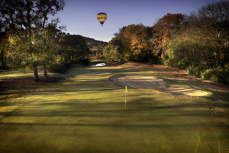 View of a hot air balloon over the course at Nashville Golf & Athletic Club