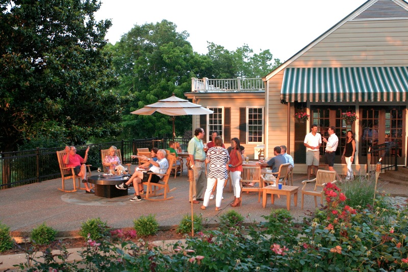 Patrons gather on the patio for an event at Nashville Golf and Athletic Club